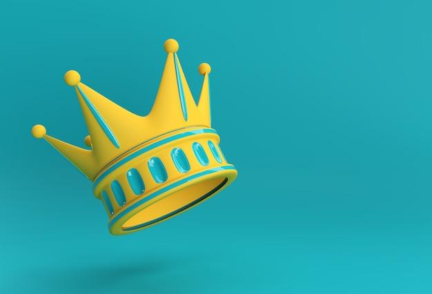 Rendu 3d illustration couronne turquoise isolé sur fond de couleur