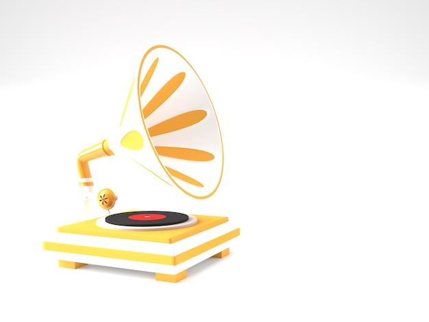 Rendu 3d illustration de gramophone sur fond de couleur