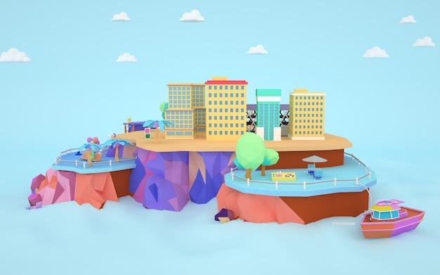 Rendu 3d d'une illustration d'un immeuble d'appartements de ville sur une île