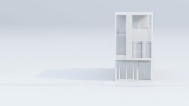 Rendu 3d de l'illustration de la maison blanche moderne