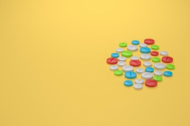 Rendu 3d. illustration de pilules de médecine multicolore, fond jaune avec fond