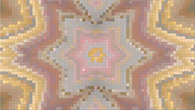 Rendu 3d d'une image abstraite d'une mosaïque. composition lumineuse de motifs symétriques