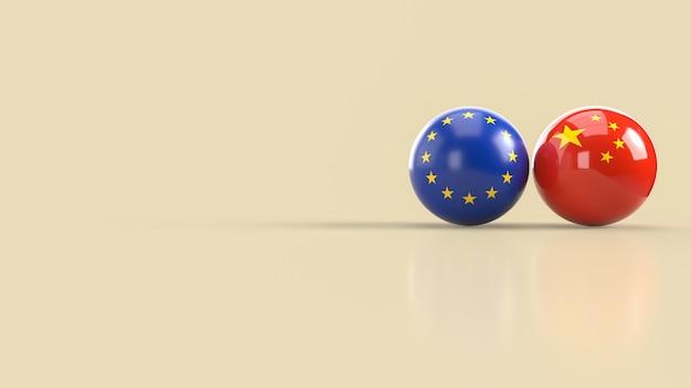 Le rendu 3d de l'image de balle de l'union européenne et chinoise