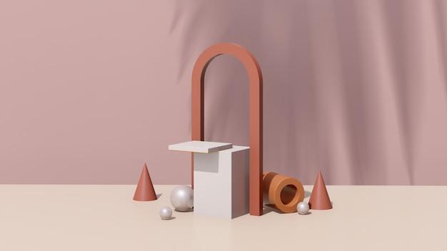 Rendu 3d image surréaliste abstraite podium blanc avec publicité d'affichage de produit sur fond marron