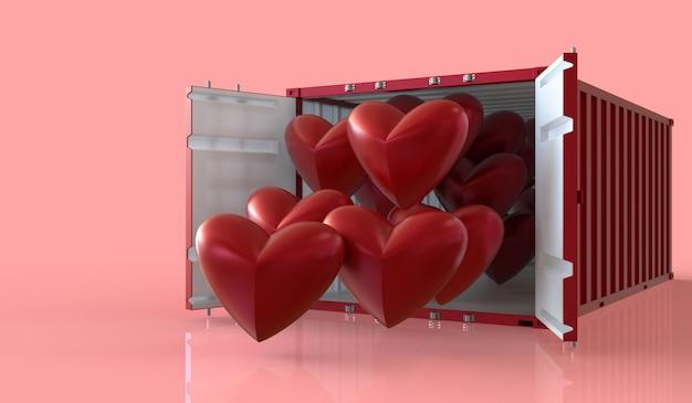 Rendu 3d importer et exporter des coeurs dans des conteneurs, saint valentin sur fond rose.