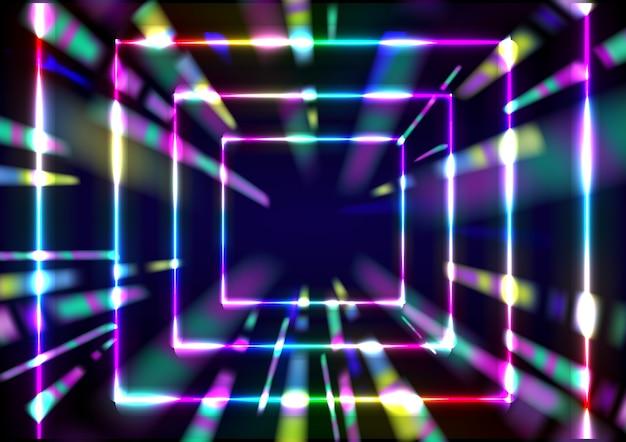Rendu 3d incandescent couleurs arc-en-ciel néon abstrait vitesse tunnel fond
