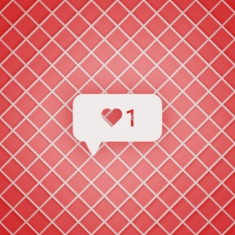 Rendu 3d d'instagram 1 comme concept de notification