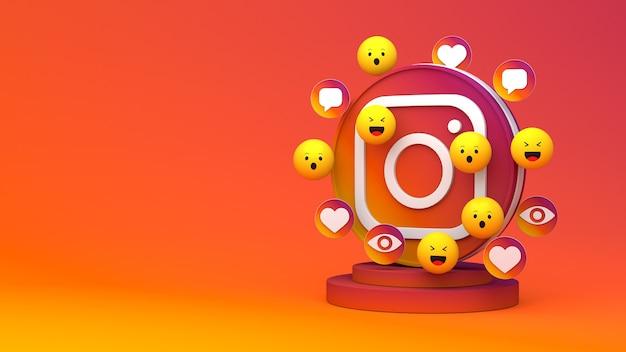 Rendu 3d d'instagram avec espace de copie