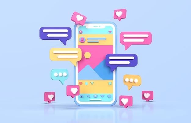 Rendu 3d d'interface instagram de médias sociaux