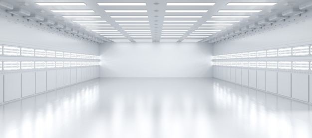 Rendu 3d intérieur blanc et propre usine ou entrepôt vide