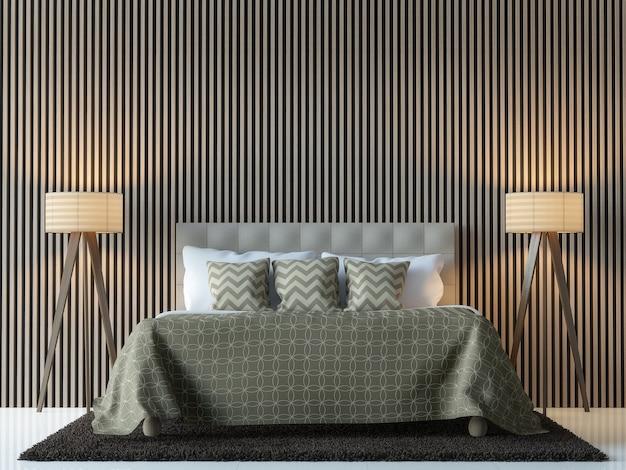 Rendu 3d d'intérieur de chambre à coucher contemporain moderne il y a décorer le mur avec le modèle en bois vertical