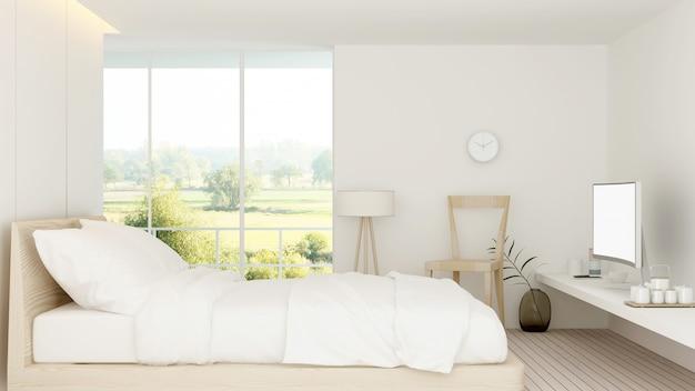 Le rendu 3d intérieur de la chambre d'hôtel minimal et nature vue de fond