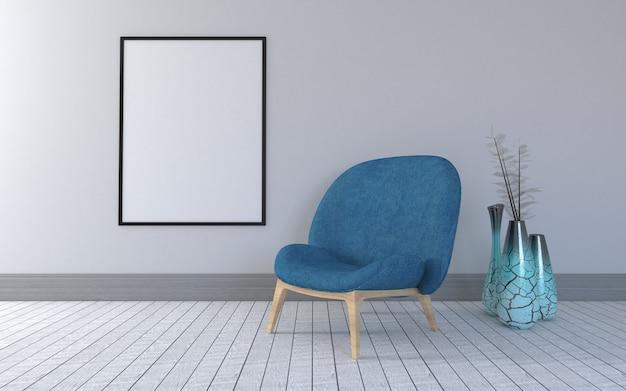 Rendu 3d de l'intérieur du salon moderne avec une chaise