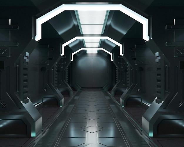 Rendu 3d intérieur du vaisseau spatial noir