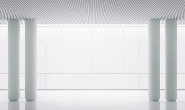 Rendu 3d de l'intérieur de l'espace moderne de la salle blanche vide décorer le mur avec une ligne de rainure en motif de brique