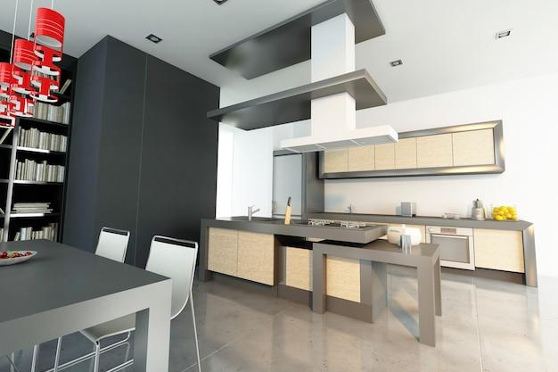 Rendu 3d d'un intérieur haut de gamme moderne avec cuisine ouverte et bibliothèque