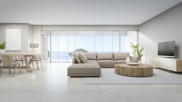 Rendu 3d intérieur maison blanche avec vue sur la mer