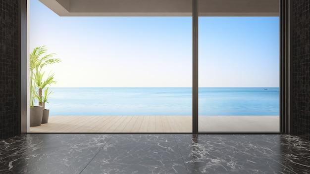 Rendu 3d intérieur de maison confortable avec vue sur la mer
