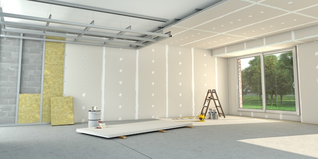 Rendu 3d d'un intérieur de maison en travaux de rénovation