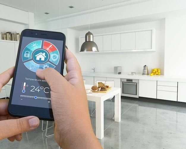 Rendu 3d d'un intérieur moderne contrôlé par une application smartphone