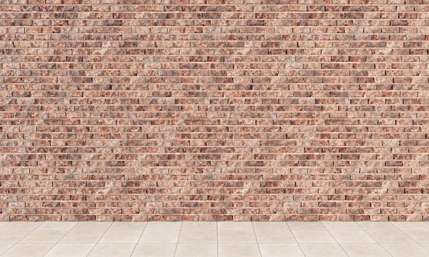 Rendu 3d de l'intérieur avec mur de briques rouges et parquet
