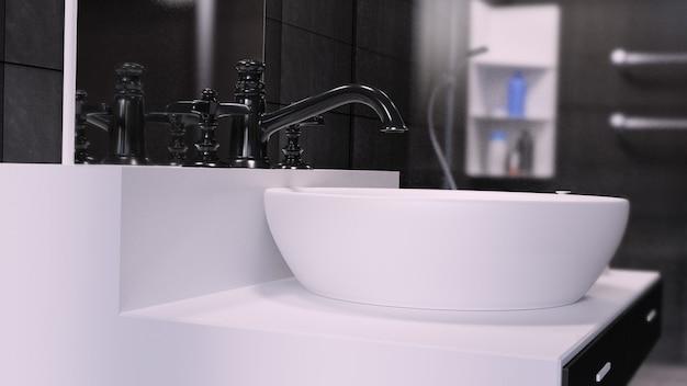 Rendu 3d intérieur de salle de bain