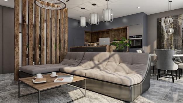 Rendu 3d intérieur de salon espace ouvert