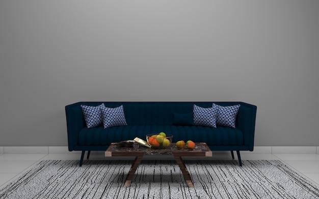 Rendu 3d de l'intérieur d'un salon moderne avec canapé - canapé et table