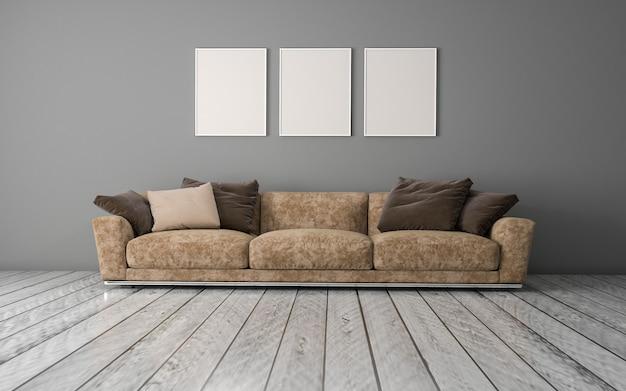 Rendu 3d de l'intérieur d'un salon moderne avec canapé, canapé et table