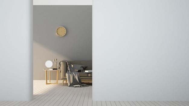 Rendu 3d l'intérieur se détendre meubles et fond décoration blanche minimal - vide