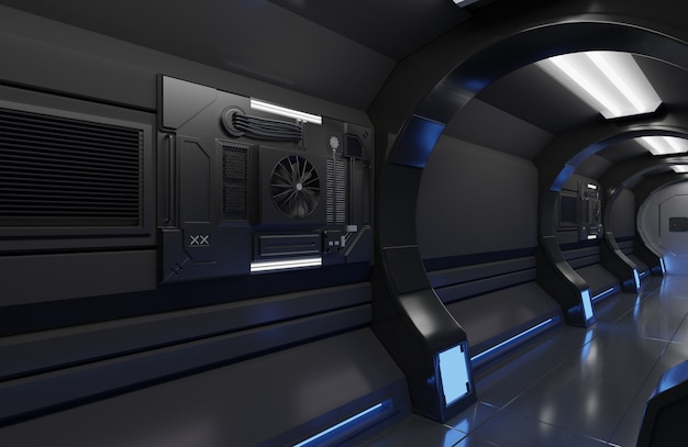 Rendu 3d intérieur de vaisseau spatial futuriste avec grand tunnel