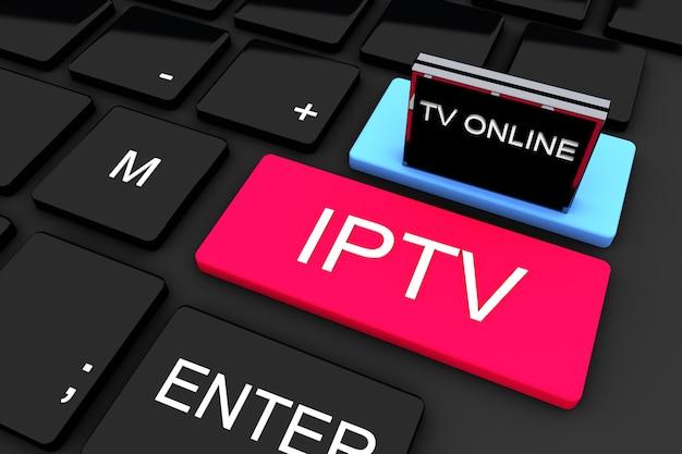 Rendu 3d. iptv. diffusion télévisée en ligne. concept technologique