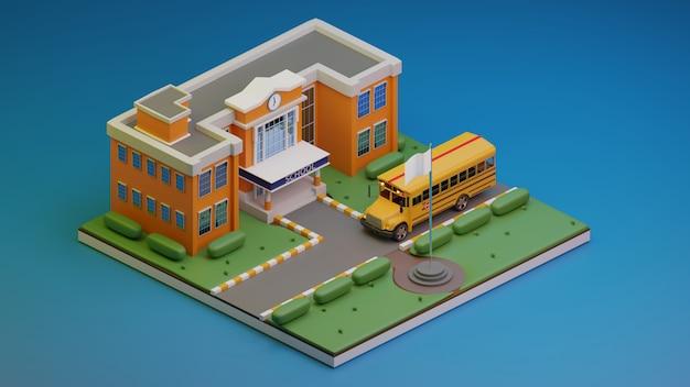 Rendu 3d isométrique., école et autobus scolaire., illustration 3d.