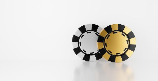 Rendu 3d de jetons de casino isolés sur fond blanc pour le gagnant du jackpot et le concept de pari.