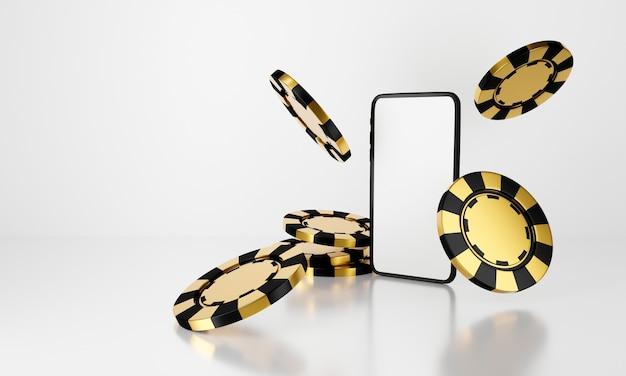 Rendu 3d de jetons de casino mobile de téléphone tombant sur fond blanc.