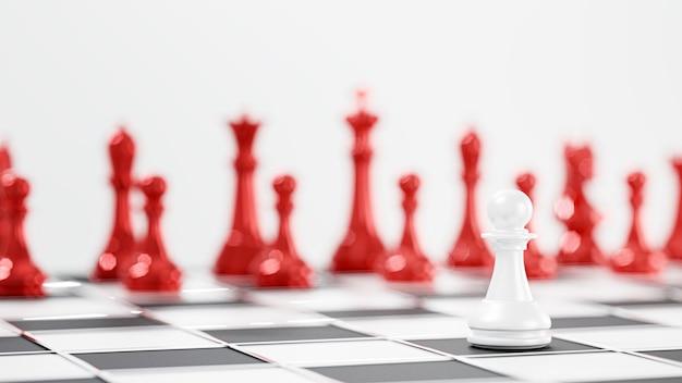 Rendu 3d. jeu de plateau d'échecs pour les concepts de leadership.