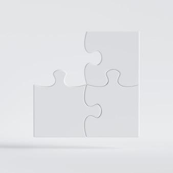 Rendu 3d, jeu de puzzle avec pièce d'angle perdue. clipart isolé sur fond blanc.