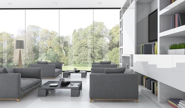 Rendu 3d joli canapé dans le salon avec vue sur le jardin