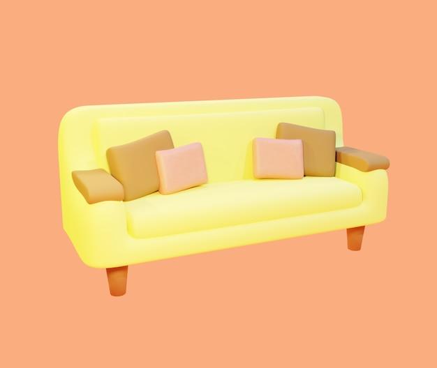 Rendu 3d d'un joli canapé jaune pour le salon