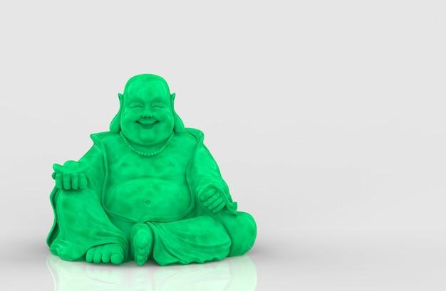 Rendu 3d. joyau vert chinois joyeux sourire moine bouddha statue sur gris.