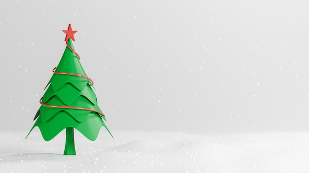Rendu 3d, joyeux noël et bonne année, pin bas poly avec conception de scène de neige, illustration 3d