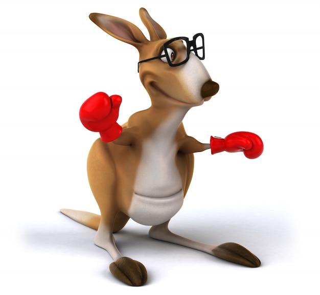 Rendu 3d de kangourou drôle