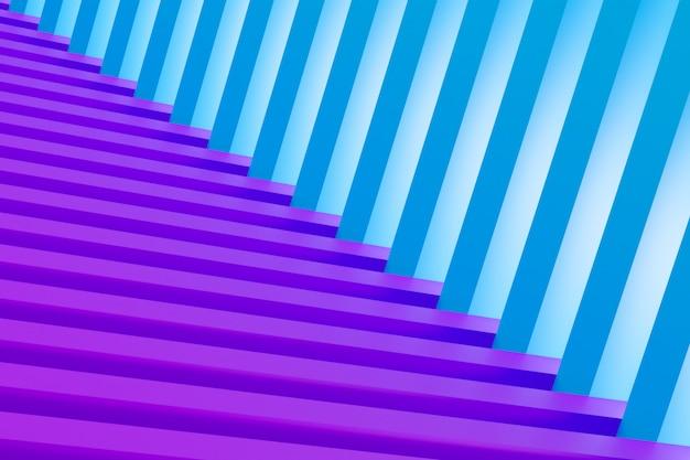 Rendu 3d. labyrinthe volumétrique bleu et violet. motif géométrique. texture d'ornement sans fin abstraite illusoire