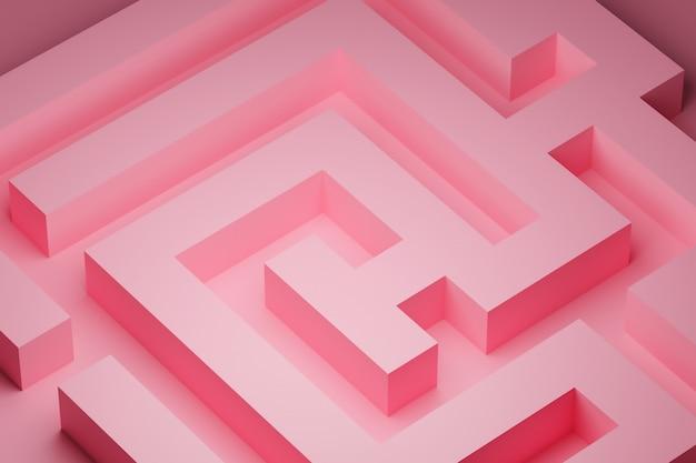 Rendu 3d. labyrinthe volumétrique rose. motif géométrique. texture d'ornement sans fin abstraite illusoire