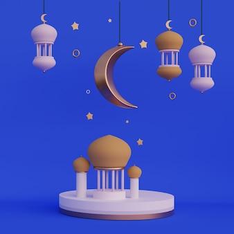 Rendu 3d de lanterne arabe en croissant de lune