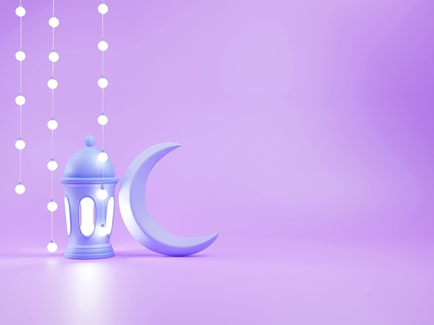 Rendu 3d de la lanterne arabe et du croissant de lune sur le podium avec espace de copie