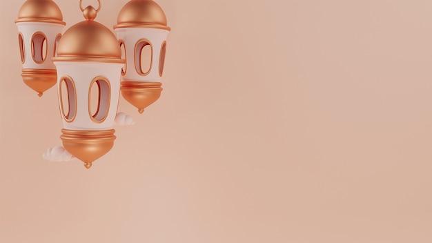 Rendu 3d de lanternes suspendues arabes avec espace de copie