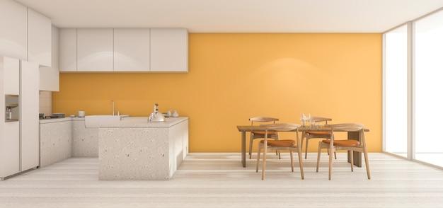 Rendu 3d large mur jaune cuisine avec table à manger en état propre