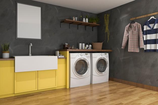 Rendu 3d lavabo jaune dans la buanderie avec mur du grenier