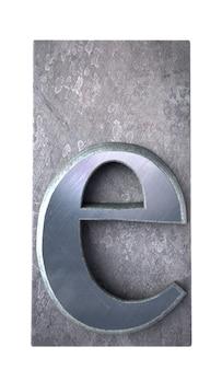 Rendu 3d d'une lettre e en impression dactylographiée métallique